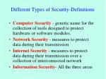 different types of security definitions