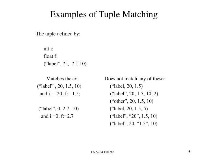 Examples of Tuple Matching