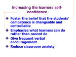 increasing the learners self confidence
