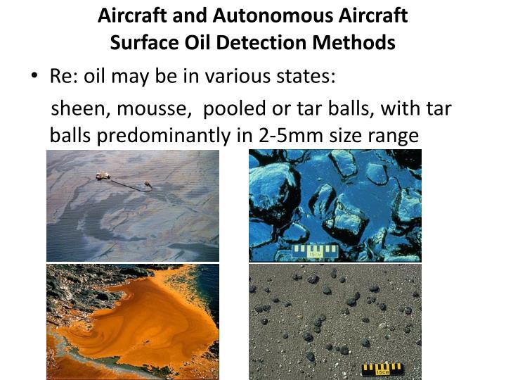 Aircraft and autonomous aircraft surface oil detection methods