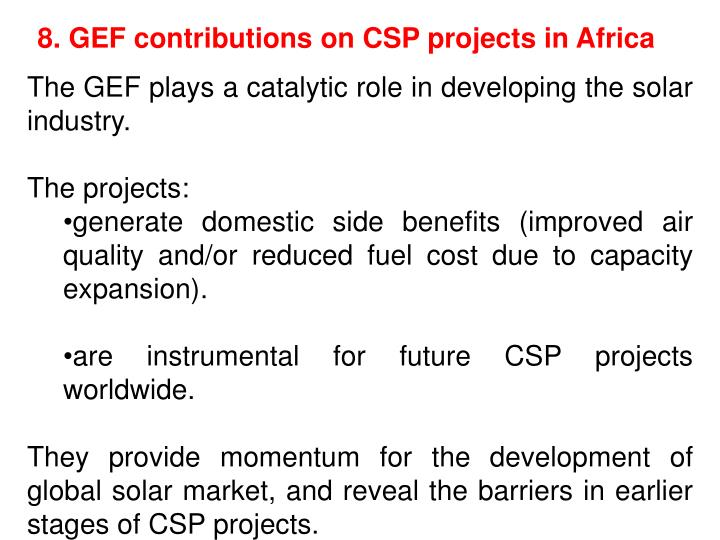 8. GEF contributions on CSP projects in Africa
