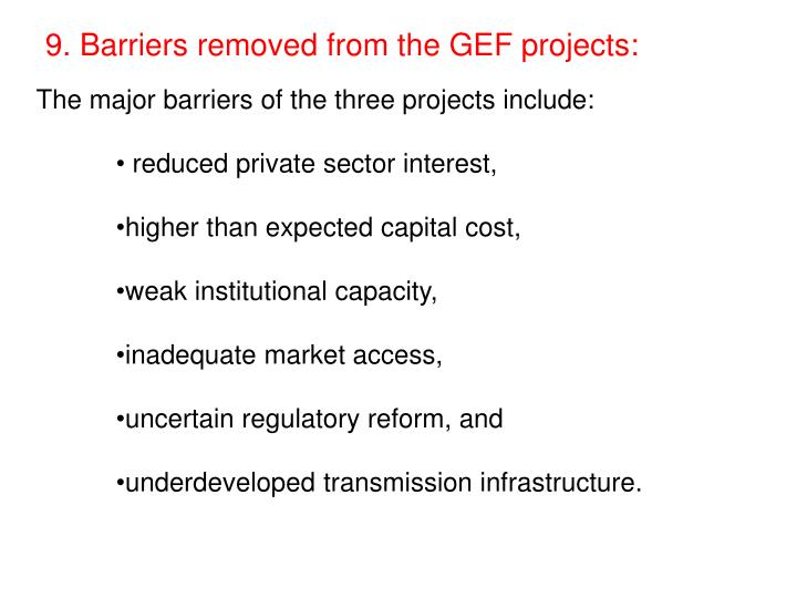 9. Barriers removed from the GEF projects: