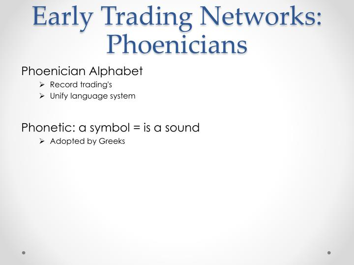 Early Trading Networks: Phoenicians