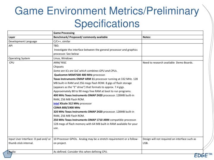 Game Environment Metrics/Preliminary Specifications