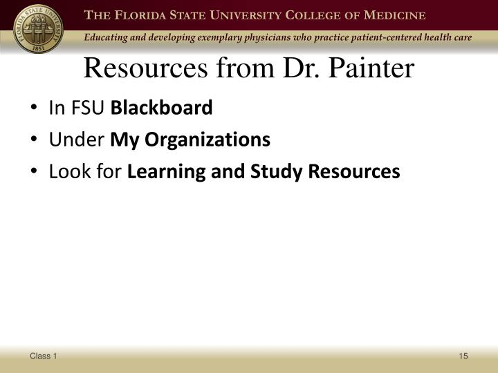 Resources from Dr. Painter