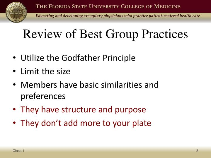Review of best group practices