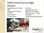 nasa family science night sessions