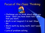 focus of the class thinking