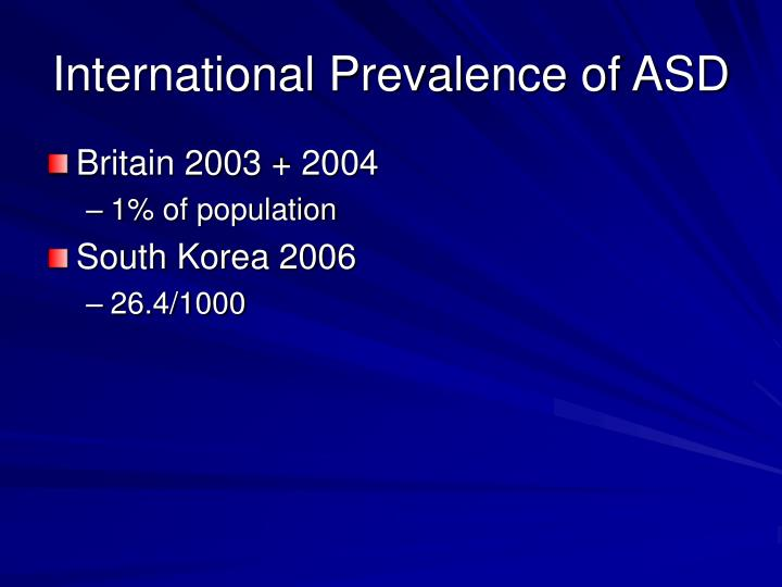 International Prevalence of ASD