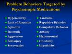 problem behaviors targeted by psychotropic medications