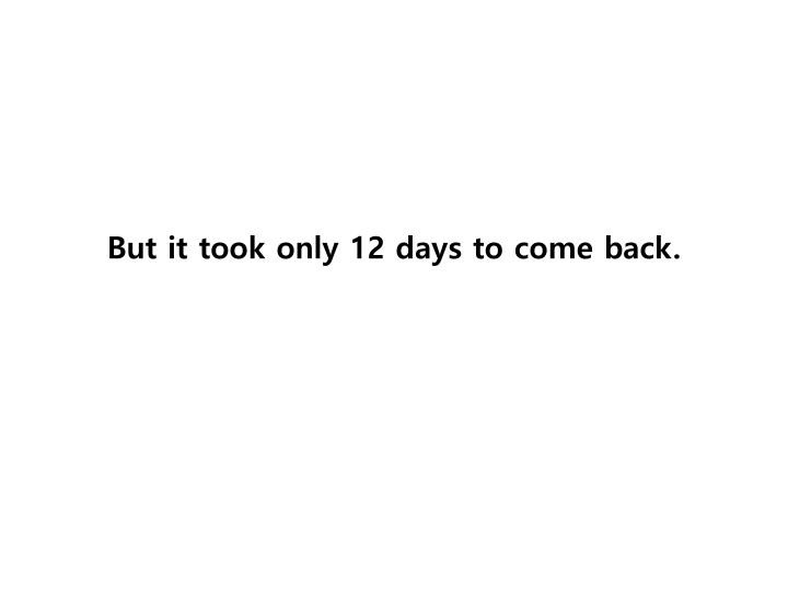But it took only 12 days to come