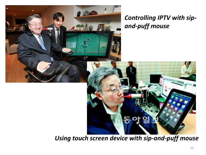 Controlling IPTV with sip-and-puff mouse