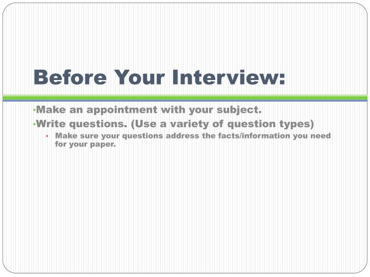 Before Your Interview: