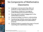 six components of mathematics classrooms