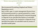 waste management licence environmental permit