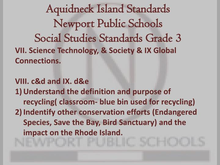 Aquidneck island standards newport public schools social studies standards grade 3