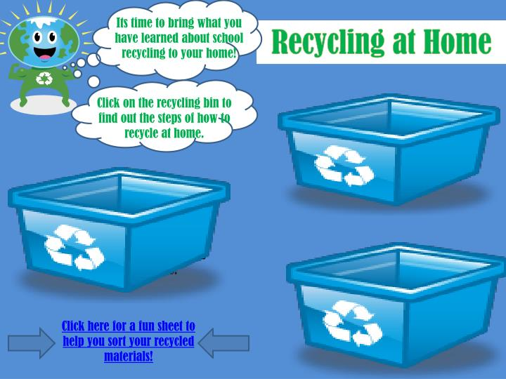 Its time to bring what you have learned about school recycling to your home!