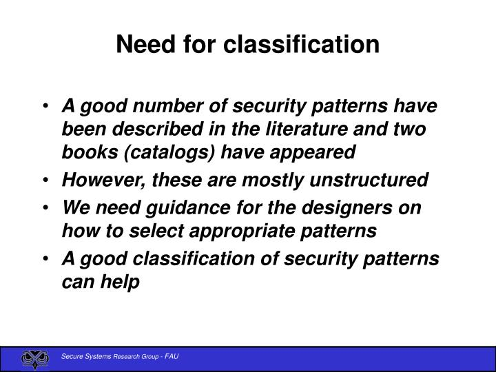 Need for classification