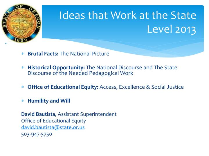 Ideas that work at the state level 2013