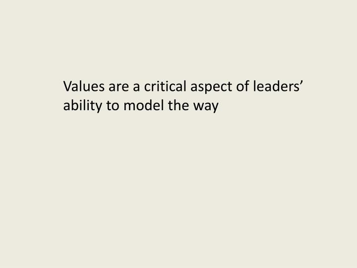Values are a critical aspect of leaders' ability to model the way