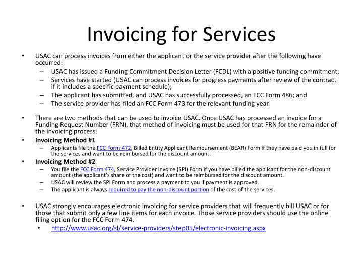 Invoicing for Services