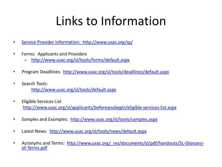 Links to Information