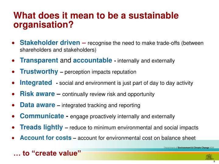 What does it mean to be a sustainable organisation?