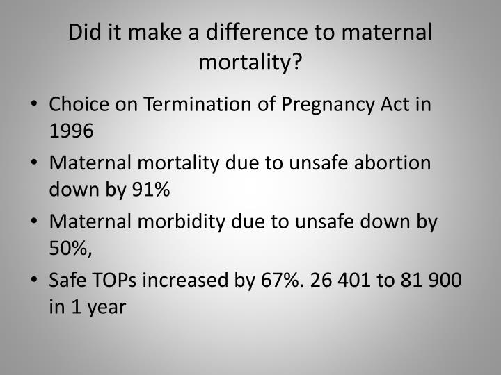 Did it make a difference to maternal mortality?