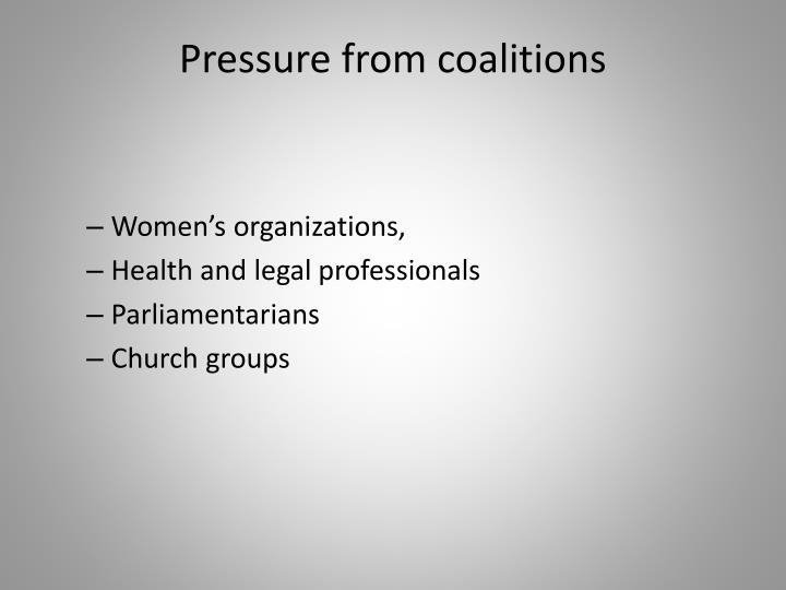 Pressure from coalitions