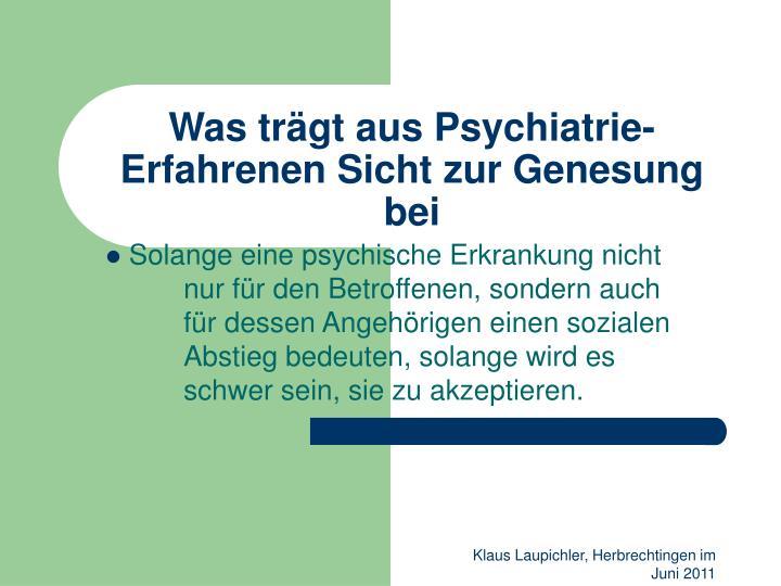 Was trägt aus Psychiatrie-Erfahrenen Sicht zur Genesung bei