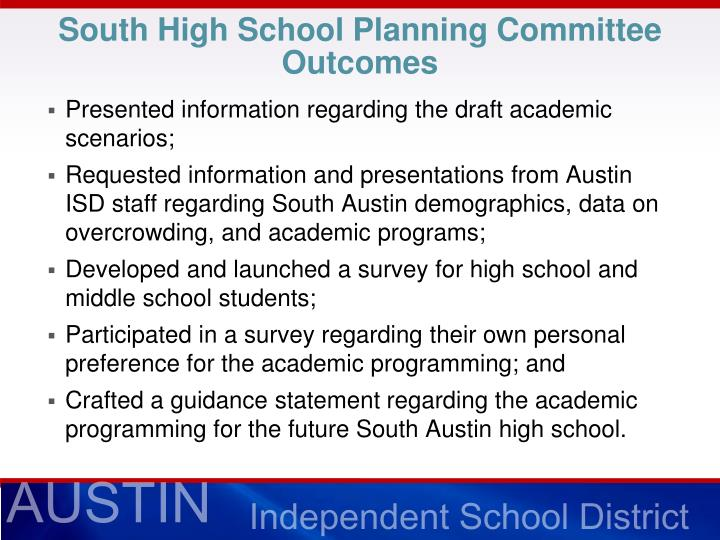 South High School Planning Committee Outcomes