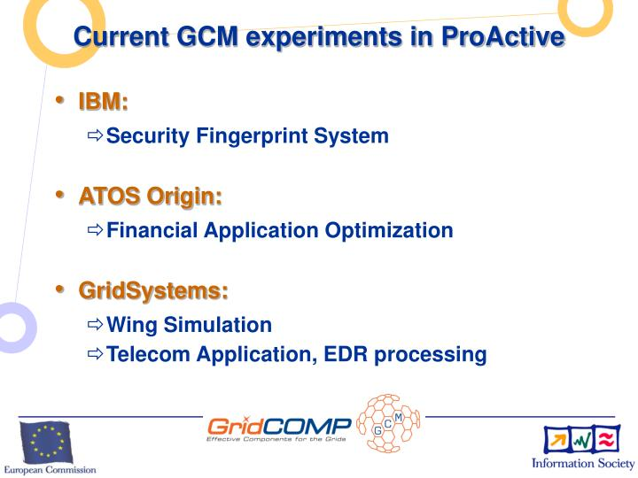 Current GCM experiments in ProActive