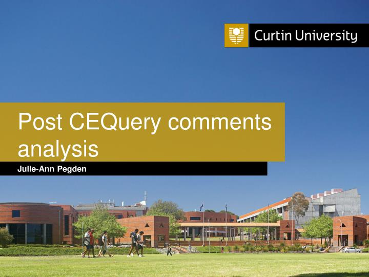 Post cequery comments analysis
