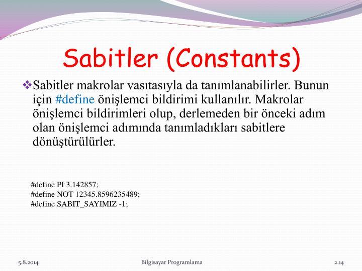 Sabitler (Constants)