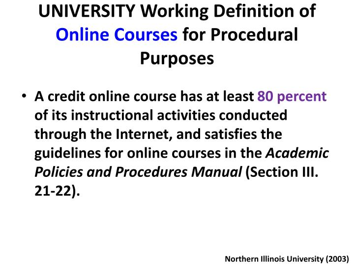 UNIVERSITY Working Definition of