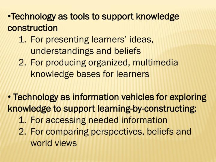 Technology as tools to support knowledge construction