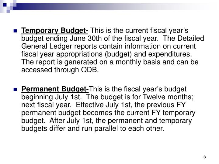 Temporary Budget-