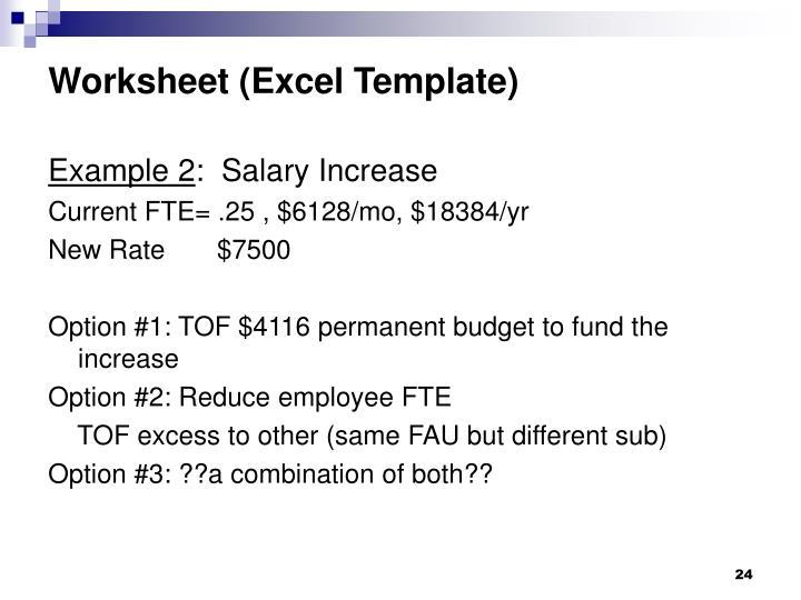 Worksheet (Excel Template)
