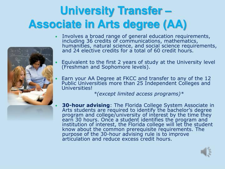 Involves a broad range of general education requirements, including 36 credits of communications, mathematics, humanities, natural science, and social science requirements, and 24 elective credits for a total of 60 credit hours.
