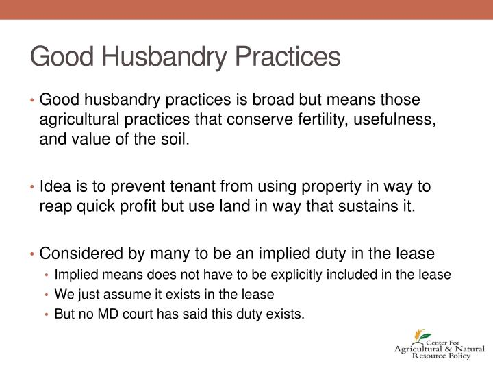 Good Husbandry Practices