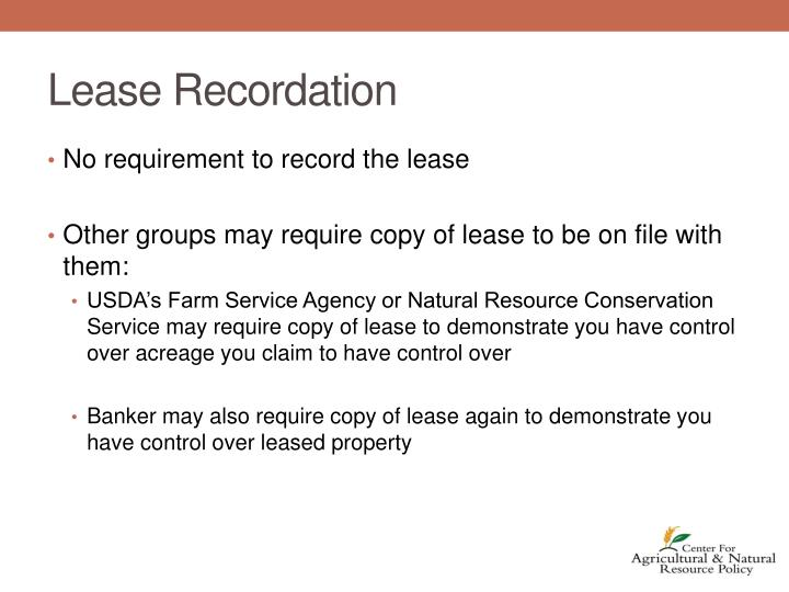 Lease Recordation
