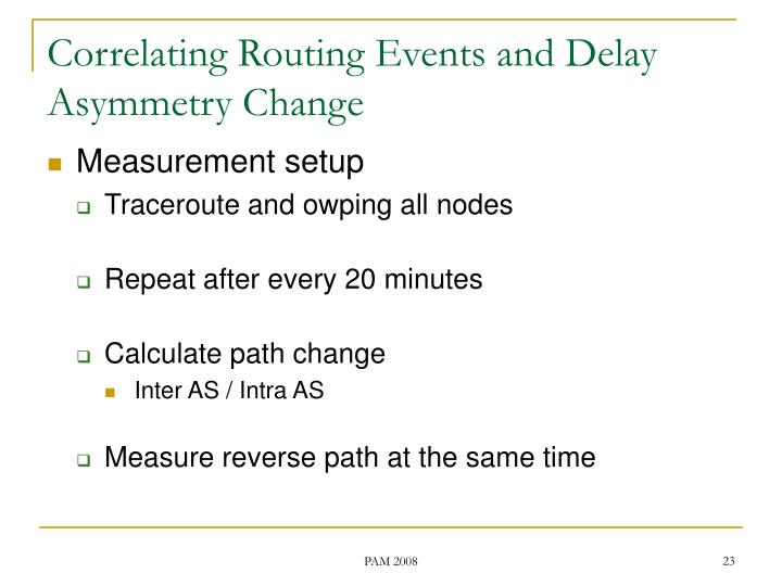 Correlating Routing Events and Delay Asymmetry Change