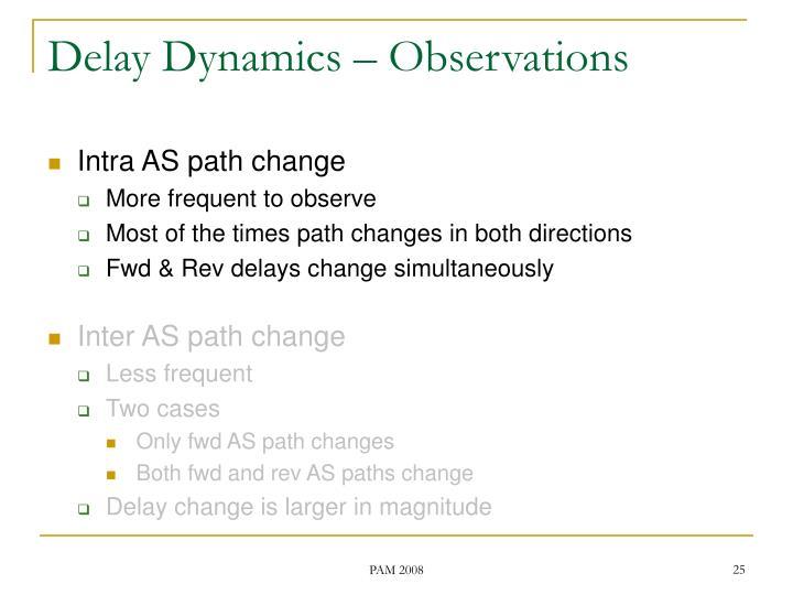 Delay Dynamics – Observations