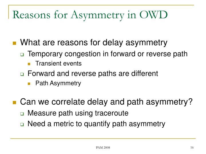 Reasons for Asymmetry in OWD