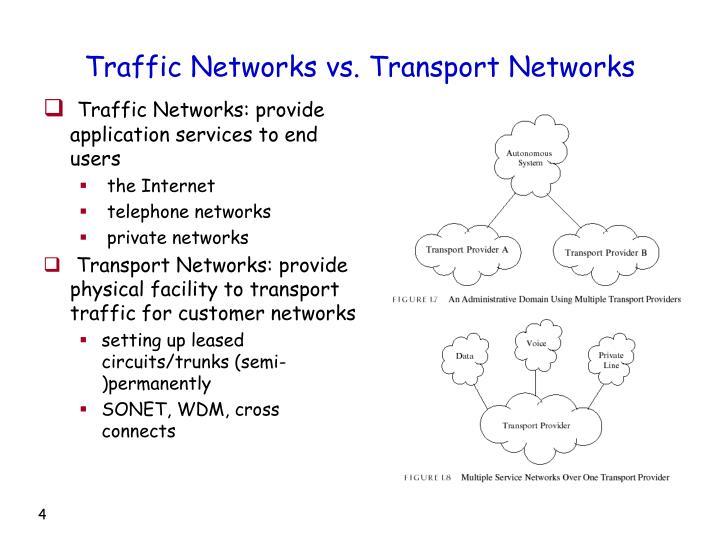 Traffic Networks vs. Transport Networks