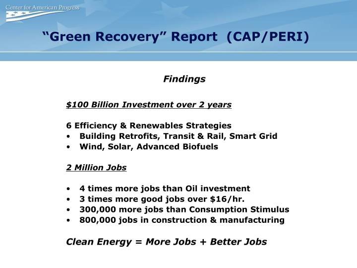 """""""Green Recovery"""" Report  (CAP/PERI)"""