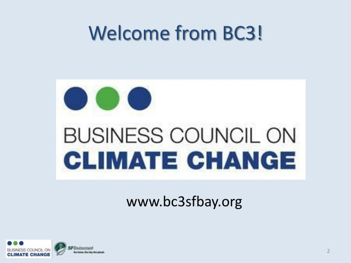 Welcome from bc3