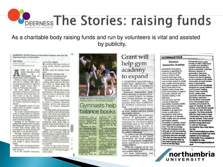 The Stories: raising funds