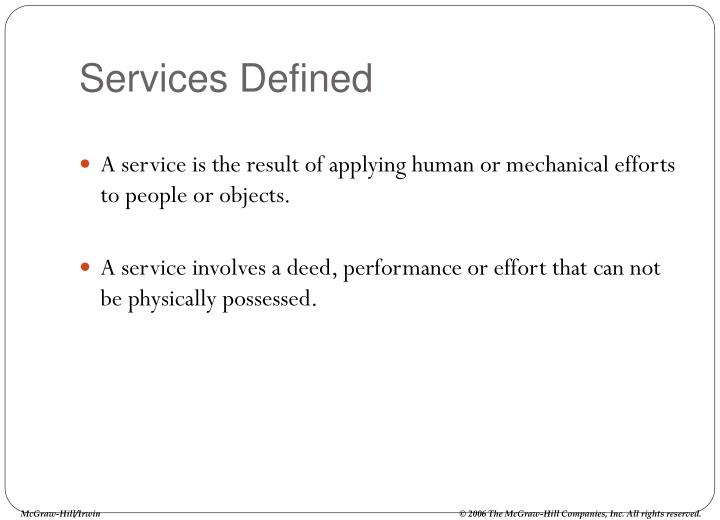 Services defined1