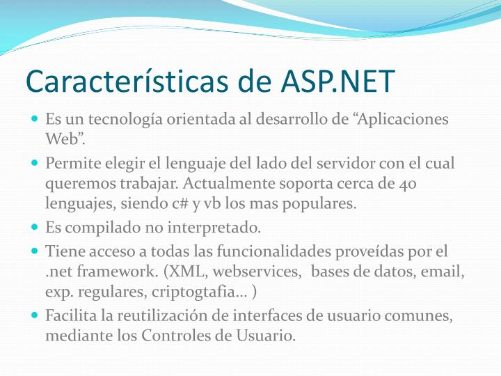 Caracter sticas de asp net